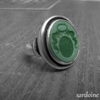 sardoine-verte armoiries monture à l'ancienne